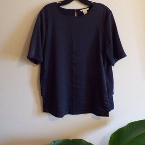 H&M Blue Grey Silky Blouse Top